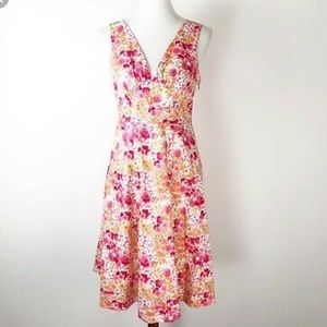 Garnet Hill Fit n Flare Floral Sleeveless Dress